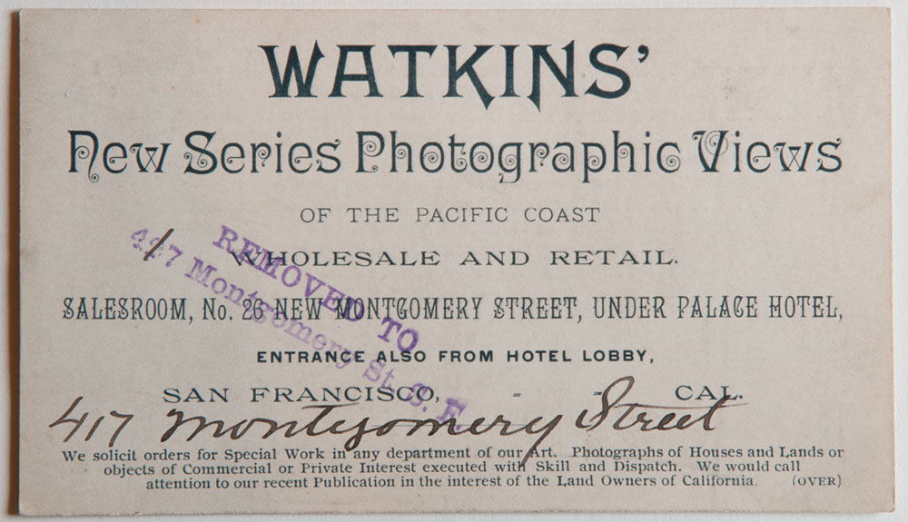 Watkins Unnumbered View - Watkins' New Series Photographic Views of the Pacific Coast