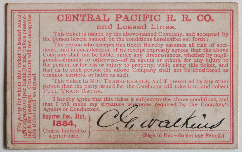 Watkins Unnumbered View - Central Pacific Railroad Co. and Leased Lines Pass - 1884 (verso)
