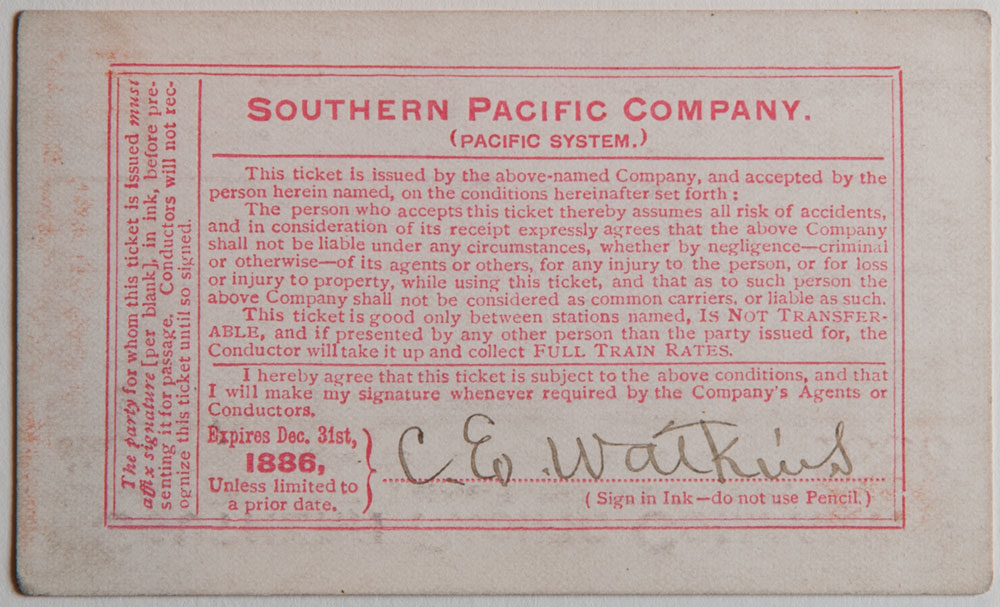 Watkins Unnumbered View - Southern Pacific Company, Northern Division, Railroad Pass - 1886 (verso)