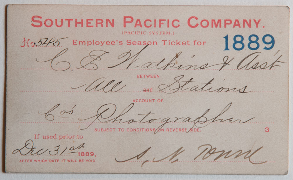 Watkins Unnumbered View - Southern Pacific Company (Pacific System), Railroad Pass - 1889