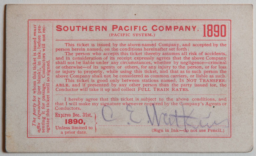 Watkins Unnumbered View - Southern Pacific Company (Pacific System), Railroad Pass - 1890 (verso)