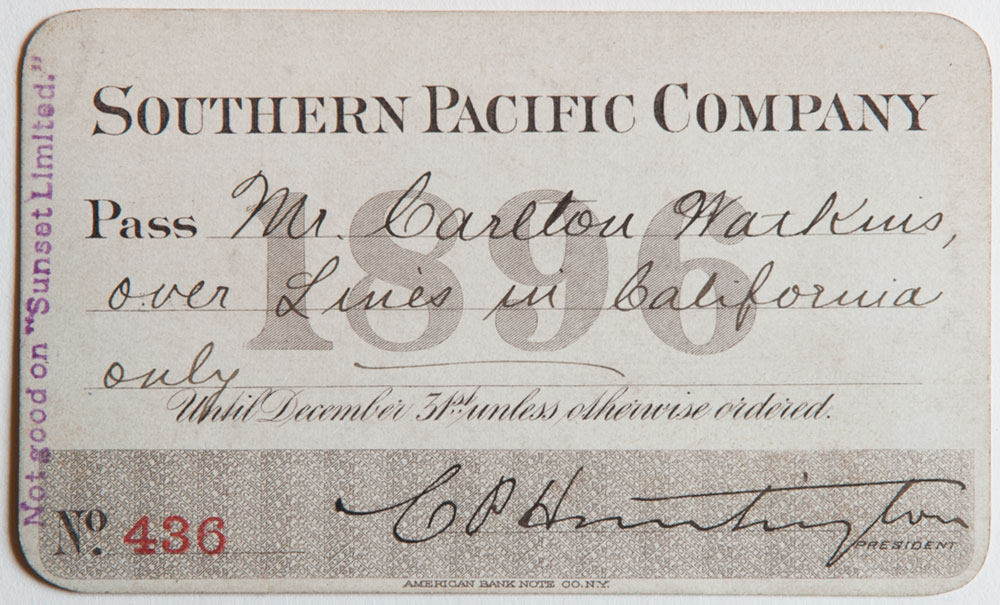 Watkins Unnumbered View - Southern Pacific Company Pass - 1896