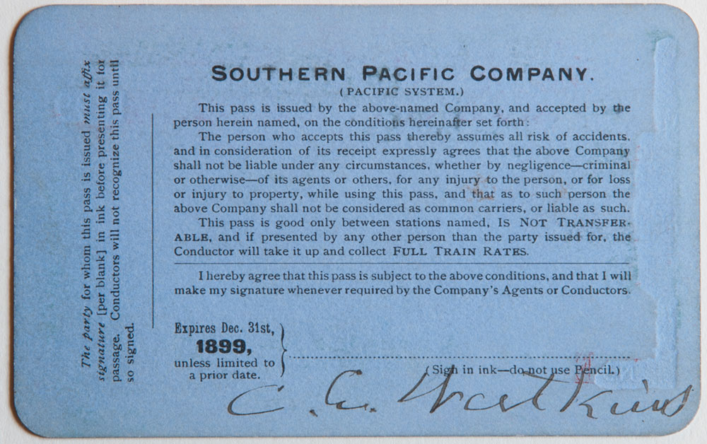 Watkins Unnumbered View - Southern Pacific Company, Pacific System, Railroad Pass - 1899 (verso)