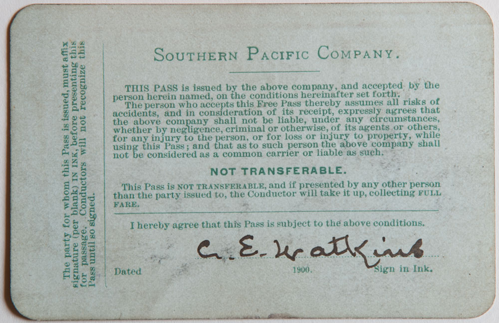 Watkins Unnumbered View - Southern Pacific Company Pass - 1900 (verso)