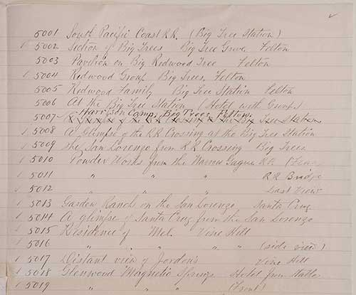Unnumbered View - Hand written list of Watkins stereoscopic views [page 2, top]