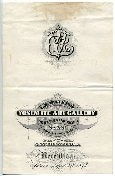 Unnumbered View - Invitation to reception at Watkins Yosemite Art Gallery, Saturday April 27th 1872.