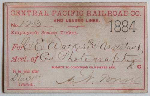 Unnumbered View - Central Pacific Railroad Co. and Leased Lines Pass - 1884