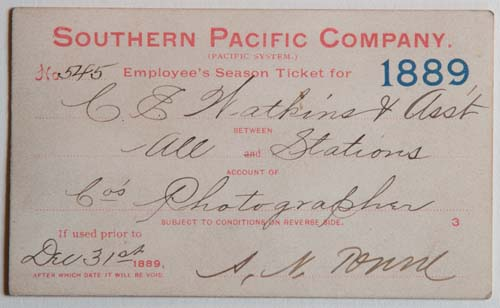 Unnumbered View - Southern Pacific Company (Pacific System), Railroad Pass - 1889