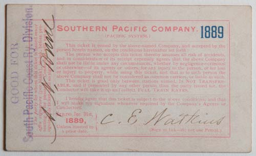 Unnumbered View - Southern Pacific Company (Pacific System), Railroad Pass - 1889 (verso)