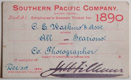 Unnumbered View - Southern Pacific Company (Pacific System), Railroad Pass - 1890
