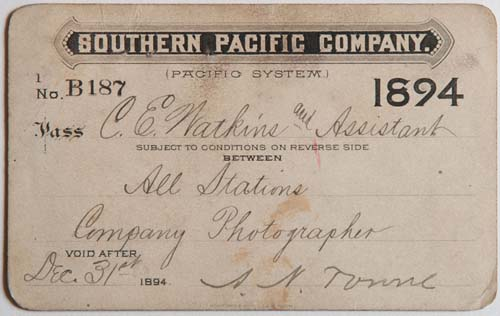 Unnumbered View - Southern Pacific Company (Pacific System), Railroad Pass - 1894