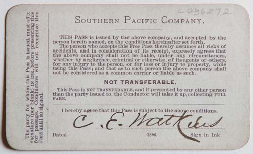 Unnumbered View - Southern Pacific Company Pass - 1896 (verso)