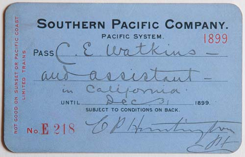 Unnumbered View - Southern Pacific Company, Pacific System, Railroad Pass - 1899