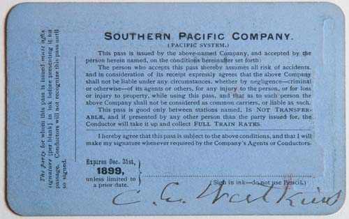 Unnumbered View - Southern Pacific Company, Pacific System, Railroad Pass - 1899 (verso)
