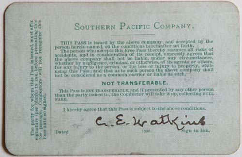 Unnumbered View - Southern Pacific Company Pass - 1900 (verso)