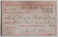 Unnumbered - Central Pacific Railroad Co. and Leased Lines Pass - 1884