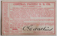 Central Pacific Railroad Co. and Leased Lines Pass - 1884 (verso)