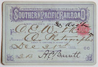 Unnumbered - Northern Division, Southern Pacific Railroad Pass - 1884