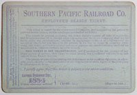 Northern Division, Southern Pacific Railroad Pass - 1884 (verso)