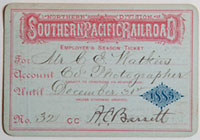 Unnumbered - Northern Division, Southern Pacific Railroad Pass - 1885