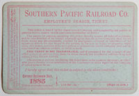 Northern Division, Southern Pacific Railroad Pass - 1885 (verso)