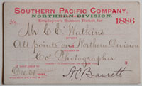 Southern Pacific Company, Northern Division, Railroad Pass - 1886