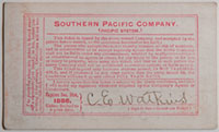 Unnumbered - Southern Pacific Company, Northern Division, Railroad Pass - 1886 (verso)