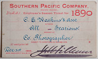 Southern Pacific Company (Pacific System), Railroad Pass - 1890