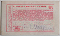 Southern Pacific Company (Pacific System), Railroad Pass - 1890 (verso)