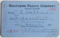 Southern Pacific Company, Pacific System, Railroad Pass - 1899