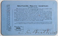 Southern Pacific Company, Pacific System, Railroad Pass - 1899 (verso)
