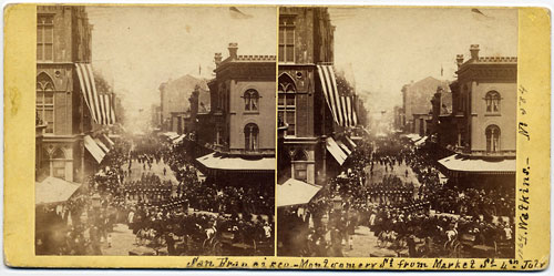 #584 - Montgomery St. from Market St, 4th July, 1864, San Francisco