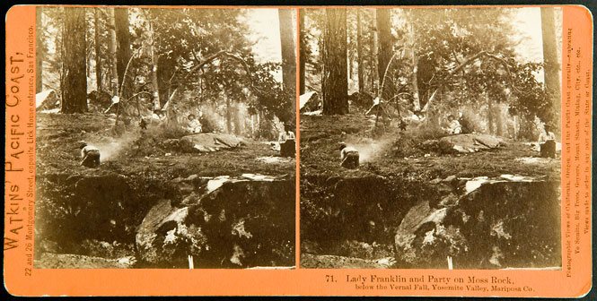 Watkins #71 - Lady Franklin and Party on Moss Rock below the Vernal Fall, Yosemite Valley, Mariposa Co.