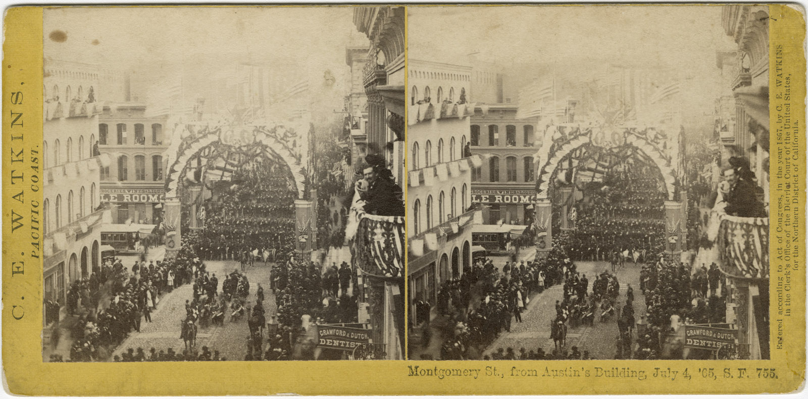 Watkins #755 - Montgomery Street, from Austin's Building, July 4, 1865, S.F.