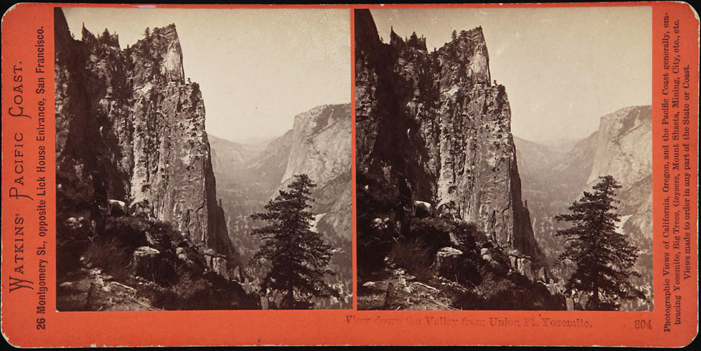 Watkins #804 - View down the Valley from Union Pt, Yosemite Valley