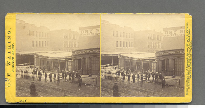 Watkins #982 - Effects of the Earthquake, Oct. 21, 1868, Market and First sts.