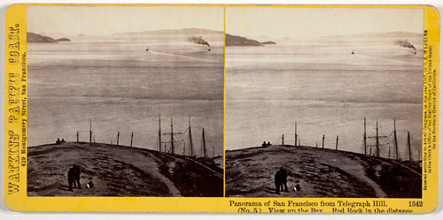 #1342 - Panorama of San Francisco from Telegraph Hill (No. 5). View up the Bay. Red Rock in the distance.