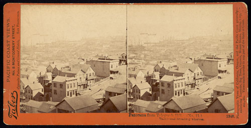 #1348 - Panorama of San Francisco from Telegraph Hill (No. 11). Vallejo and Broadway Wharves.