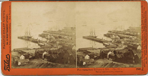 #1348 - Panorama from Telegraph Hill (No. 11). Vallejo and Broadway Wharves.