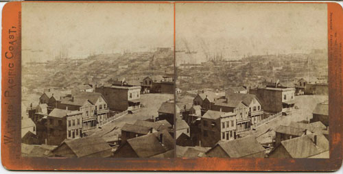 #1349 - Panorama of San Francisco from Telegraph Hill (No. 12). The Lumber Wharves.