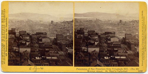 #1352 - Panorama of San Francisco from Telegraph Hill (No. 15). Kearny Street, St. Mary's Cathedral.