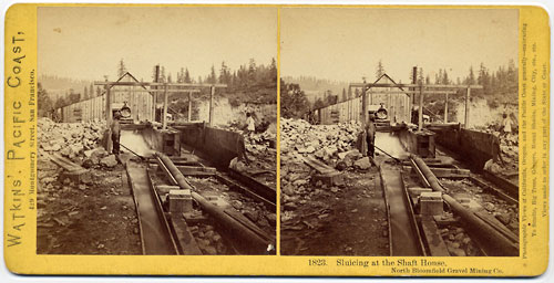 #1823 - Sluicing at the Shaft House. North Bloomfield Gravel Mining Co., Nevada Co.