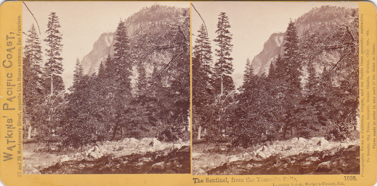 Watkins #1098 - The Sentinel, from the Yosemite Falls, Yosemite Valley, Mariposa County, Cal.