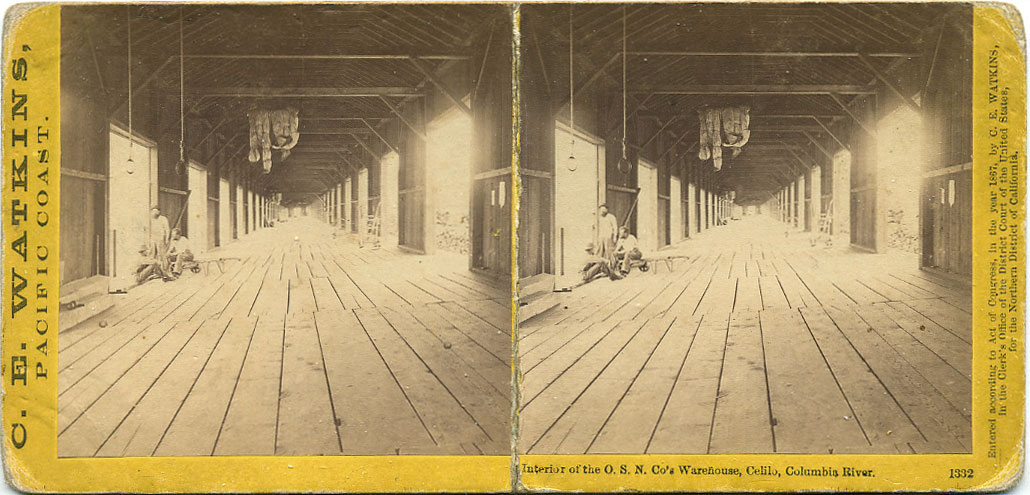 Watkins #1332 - Interior of the O. S. N. Co's Warehouse, Celilo, Columbia