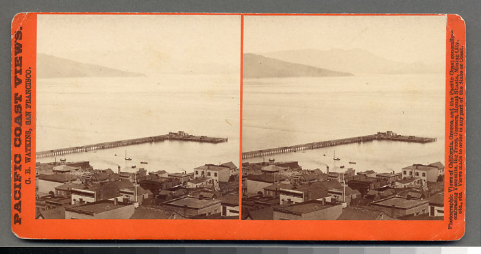 Watkins #1340 - Panorama of San Francisco from Telegraph Hill (No. 3). Meiggs' Wharf