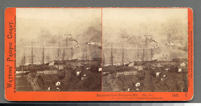 Watkins #1347 - Panorama of San Francisco from Telegraph Hill (No. 10) Sacramento Steamer Chrysopolis starting out
