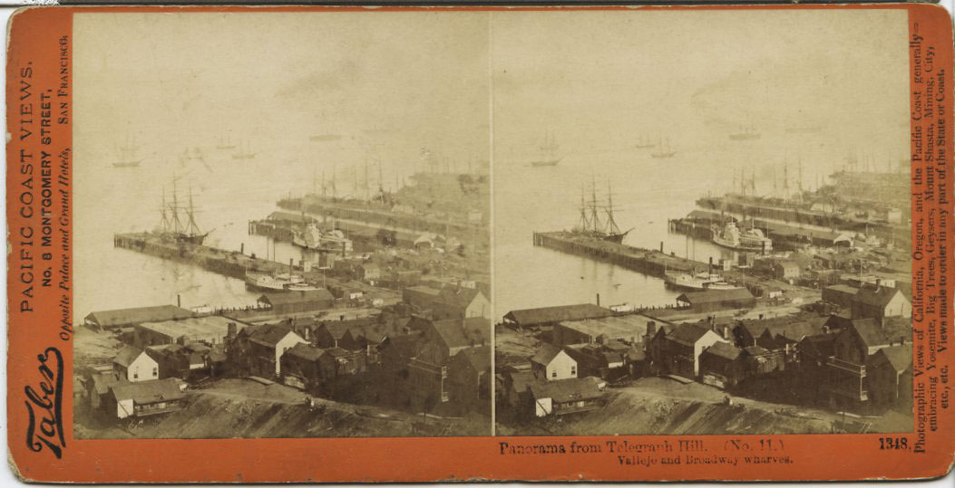 Watkins #1348 - Panorama from Telegraph Hill (No. 11). Vallejo and Broadway Wharves.