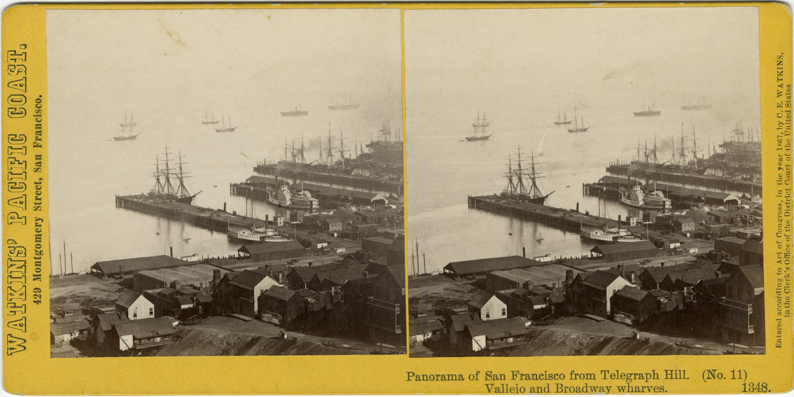 Watkins #1348 - Panorama of San Francisco from Telegraph Hill (No. 11). Vallejo and Broadway Wharves.
