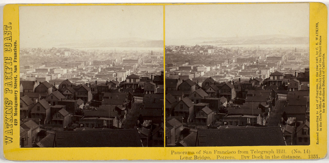 Watkins #1351 - Panorama of San Francisco from Telegraph Hill (No. 14). Long Bridge, Potrero, Dry Dock in the Distance