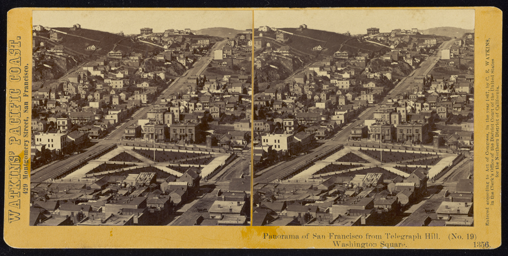 Watkins #1356 - Panorama of San Francisco from Telegraph Hill (No. 19). Washington Square.